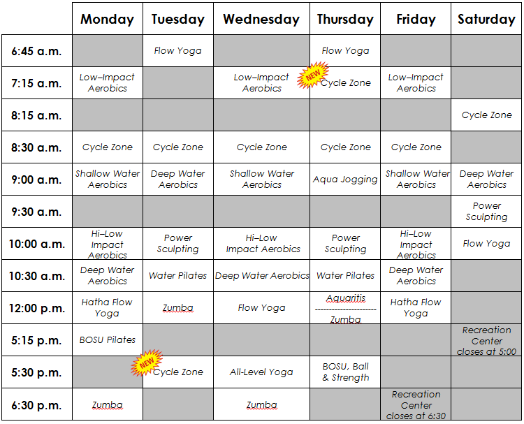revised fitness class schedule effective monday  may 21st