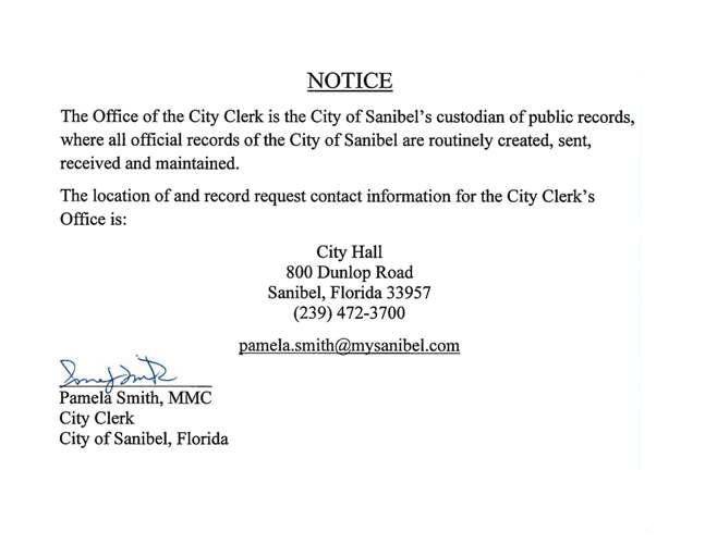 Public Records Request - City of Sanibel